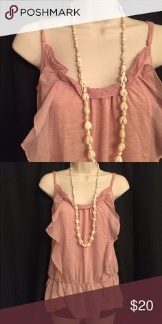 🌜FRILLY BABY PINK TANK TOP WITH SHELL NECKLACE🌛 Super cute ensemble I put together, the top was too big for me so I only wore it twice. Please feel free to make an offer! ✨ Xhilaration Tops Blouses