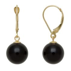 14k 10mm Onyx Dangle Leverback Earrings -- Check this awesome product by going to the link at the image.