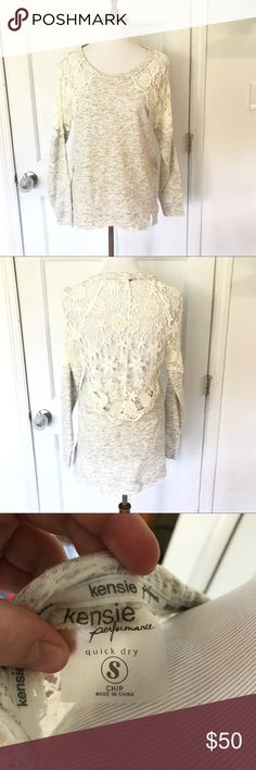 Kensie Performance lace top sweatshirt size small Kensie heathered grey crochet top sweatshirt. Quick drying Heathered grey with raw edges. Tunic style. Perfect for after yoga or a work out. Size small excellent condition. Kensie Tops Sweatshirts & Hoodies