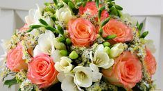 Coral Roses Mixed with White and Green Bouquet Images, Coral Roses, Funeral Flowers, Beautiful Flowers, Beautiful Bouquets, Wedding Bouquets, Flower Arrangements, Salmon, Floral Wreath