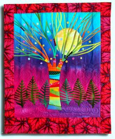 """Fibermania: Make Me a Quilt : Nancy. The Moon Beams #3 Hand dyed cottons, silks and commercial print, fused, machine quilted. 19 x 23.5"""""""