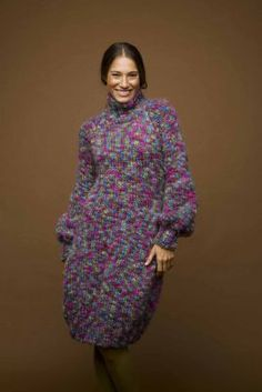 Bulky yarn sweater dress with turtleneck free knitting pattern