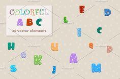 Vector cartoon colorful alphabet. by Tretana on @creativemarket