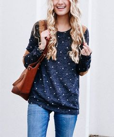 So Perla Navy Dot Elbow-Patch Sweater Elbow Patch Sweater, Elbow Patches, Cold Weather Fashion, Patch Design, Modest Outfits, Floral Tops, Bell Sleeve Top, Dots, Navy