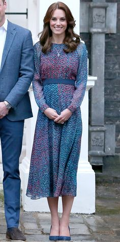 The Duchess of Cambridge opted for L.K. Bennett's jewel-toned silk cocktail dress, which she paired with coordinating navy pumps, while hosting President and First Lady Obama at Kensington Palace on April 22, 2016