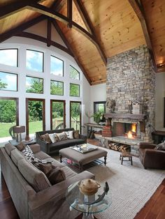 Living Room Design Rustic Interior Style With Cream Sofa Equipped Fireplace Rustic interior design for your house Home design http://seekayem.com