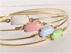 Pastel and gold bangles set 4  Minimalist jewelry  by Cecileis