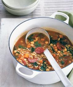 On the stove now; I've made it before, but I forgot my modifications...will post soon! >>> Farro Soup with Chorizo via Real Simple