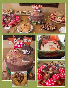 The food table at my daughter's Woodland themed baby shower.