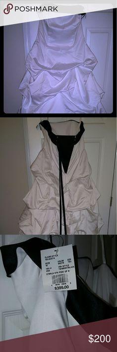 Wedding Dress Zipper back, brand new, black and white David's Bridal Dresses Wedding