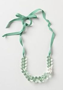 inspiration came from the Halcyon Halo Necklace ($32) from Anthropologie. I loved the aqua ribbon with the clear crystals.