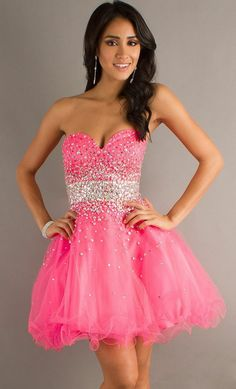 Beaded Strapless Sweetheart Pink Layered Tulle Mini Dress. #short #prom #dress www.loveitsomuch.com