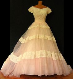 Long, Blush Pink 50s Wedding Gown  #retro wedding ... Wedding ideas for brides, grooms, parents & planners ... https://itunes.apple.com/us/app/the-gold-wedding-planner/id498112599?ls=1=8 … plus how to organise an entire wedding, without overspending ♥ The Gold Wedding Planner iPhone App ♥