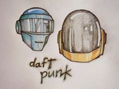 I am a big time fanboy of Daft Punk. When you hear their music enough you start hearing why they are good. You would normally not notice but their chords have slight changes over time and are not just the repeating 4x4 like everyone else does. Or may be that's how I hear them. Anyway, this is made on paper with color pencils. Daft Punk, Big Time, Colored Pencils, My Drawings, 4x4, Fan Art, Paper, Music, Colouring Pencils