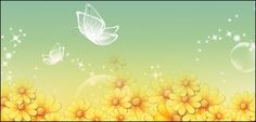 Download Yellow flowers and butterflies vector transparent ...