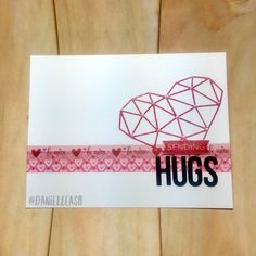 My Favorite Things abstract heart and Hugs die cuts. Valentine's day washi tape design. Simple, clean Sending Hugs Valentine's day card. #mftstamps #cardmaking #papercrafts #stamping