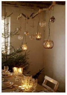 I love this branch project. I have so many votives I could do this with. Over a bathtub, or in the bedroom... so cozy.