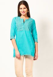 Leave the finest impression of sartorial elegance wearing this blue coloured kurti by Aurelia. Exclusively designed, this kurti in regular-fit will enhance your curves and soft, 100% cotton will keep you comfortable. This attractive kurti will surely fetch you compliments for your rich sense of style.