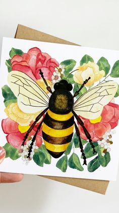 Arches Watercolor Paper, Watercolor Flowers, Watercolor Paintings, Watercolors, Bee Drawing, Bee Painting, Bee Gifts, Bee Art, Art Projects