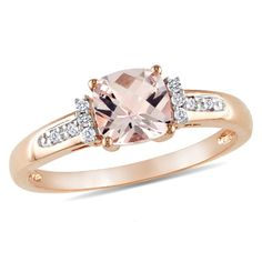 6.0mm Cushion-Cut Pink Morganite and Diamond Accent Ring in 10K Rose Gold  - Peoples Jewellers