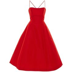 Elizabeth Kennedy     Tie Up Detail Tea Length Cocktail Dress ($4,800) ❤ liked on Polyvore featuring dresses, red, thin strap dress, red tea length dress, straight dress, tea length dresses and red cocktail dress