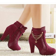 Thick high heel metal beautiful chain decorate women martin short ankle boots has fashion new design and beautiful chain decorate, which can make you legs more charming. Boots For Short Women, Short Ankle Boots, Calf Boots, Over The Knee Boots, Bootie Boots, Thigh High Heels, Fashion Boots, Women's Fashion, Motorcycle Boots