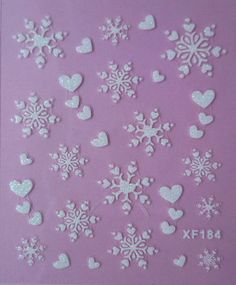 Christmas Nail Art DIY Stickers Decals White Snowflakes Heart Transfer 2 Sheets #Unbranded