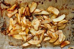 Super Simple Roasted Apples  makes 4 small servings  4 Fuji apples, peeled and sliced thin  1 tablespoon lemon juice  3 tablespoons brown sugar  1 or 1 1/2 teaspoons cinnamon  1 teaspoons cornstarch  sprinkling of ground all spice  pinch of salt  2 tablespoons butter, cut into small cubes  Place a rack in the center of the oven and preheat oven to 400 degrees F. Line a baking sheet with parchment paper. Spread sliced apples across the baking sheet. Sprinkle with lemon juice. Sprinkle with…
