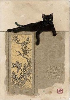 Jane Crowther, Black Cat Resting (Bug Art greeting card, founded I Love Cats, Crazy Cats, Cute Cats, Black Cat Art, Black Cats, Bug Art, Photo Chat, Cat Cards, Cat Drawing