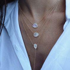 14kt rose gold moonstone and diamond tear drop drip lariat necklace – Luna Skye by Samantha Conn
