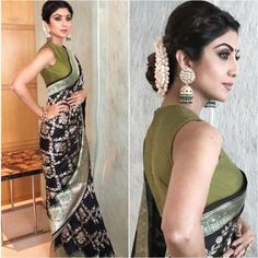 Noone wants to wear a simple blouse with their banarasi sarees. Lets have a look at some of the blouse designs for Banarasi Saree for your next ethnic outing – Sari Blouse Designs, Saree Blouse Patterns, Beautiful Blouses, Beautiful Saree, Beautiful Beautiful, Saree Hairstyles, Open Hairstyles, Stylish Blouse Design, Saree Trends