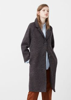 Flecked wool-blend coat | MANGO
