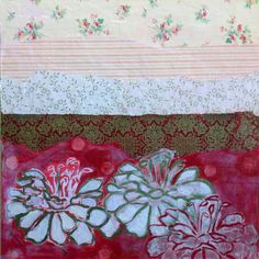 Red Dahlia with Wallpaper and Japanese paper on Etsy, $533.71 CAD