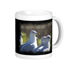 Seagull on a Rail Black Border Mug from Florals by Fred #zazzle #gift