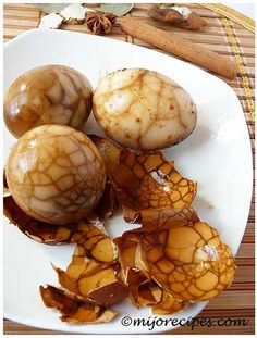 Chinese Marbled Tea Eggs recipe- great for a boy's dinosaur themed party!