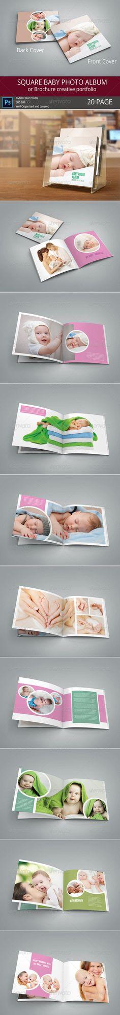 SQUARE BABY PHOTO ALBUM - Print Templates