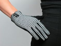 Tweed Gloves Knitting Wool - Thousands birds pattern - leather button - Black White  - Women - Winter Fall - Handmade - Free Shipping. $15.98, via Etsy.