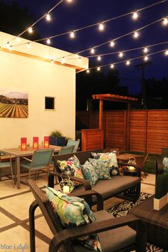 HOW TO HANG PATIO STRING LIGHTS! Commercial grade string lights are ideal for permanent installation in your yard, and can withstand the elements year round. worksheet worksheet for kids worksheet student Hanging Patio Lights, Solar Patio Lights, Backyard String Lights, Backyard Lighting, Outdoor Lighting, Outdoor Decor, Lighting Ideas, String Lighting, Rooftop Lighting