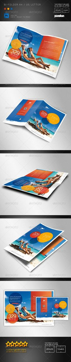 Travel Agency Bifolder  #GraphicRiver         Double sided bi-folder brochure for any kind of business. In particular for travel agency or sports event.  The PSD file is very well organized in folders and layers. You can modify everything very easy and quick. Changing the color style, pictures and the typo is no problem.
