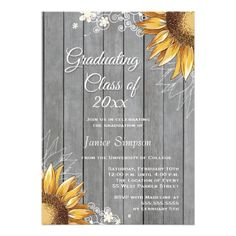 Country rustic sunflowers graduation party invite