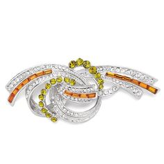 Pugster Clear Peridot Orange Crystal Twined Ribbon Brooches And Pins