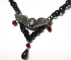 Sugar skull necklace - black chainmaille - anodized aluminum with blood red crystals #dteam