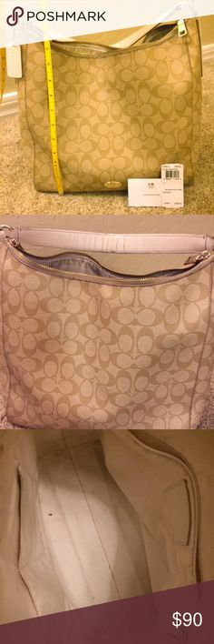 👜 Coach purse 👜 Well loved Coach canvas coated purse!  The paint trim on the top edge of the purse near the zipper is starting to wear (see pics) and there is some wear on the underside of the strap (see pic 2).  Comes with detachable shoulder strap so it can worn as a cross body.   Make an offer or save more and bundle. Coach Bags