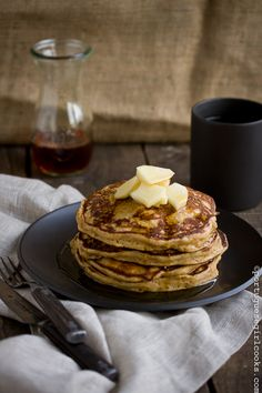 Apple Gingerbread Pancakes with Apple Cider-Maple Syrup