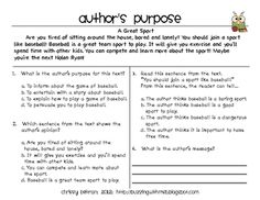 This is a one-page document plus answer key that is great for assessing kids' understanding of author's purpose in a persuasive text. Students have...