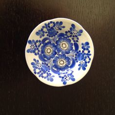 Small Blue and White Hand painted Floral Design Polish Plate made for LOT / signed V Truszkowska by aniadesigns on Etsy