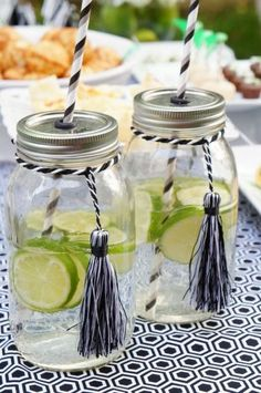 Mason jar cups with tassels for graduation party! Also would be a cute gift use for the graduate to use the week of graduation! College Graduation Parties, Graduation Celebration, High School Graduation, Grad Parties, Graduation Gifts, Graduation 2015, Graduation Tassel, Summer Parties, Mason Jar Crafts