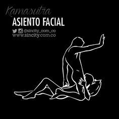 #AsientoFacial Posición cómoda para la mujer y erótica para el hombre. Él coloca una almohada detrás de la cabeza de ella, luego se monta a la altura de sus hombros. La pared o la cabecera de la cama servirá de ayuda. #KamasutraSincity