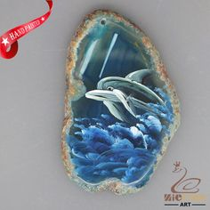 HAND PAINTED DOLPHIN AGATE SLICE GEMSTONE DIY NECKLACE PENDANT ZL8018590 #ZL #PENDANT