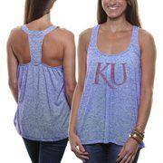 Kansas Jayhawks Ladies Heathered Drape Loose Fit Tank - Royal Blue